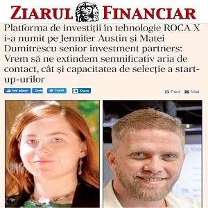 Platforma de investiţii în tehnologie ROCA X i-a numit pe Jennifer Austin şi Matei Dumitrescu senior investment partners