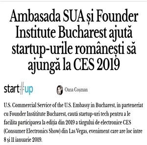 Ambasada SUA și Founder Institute Bucharest ajută startup-urile românești să ajungă la CES 2019